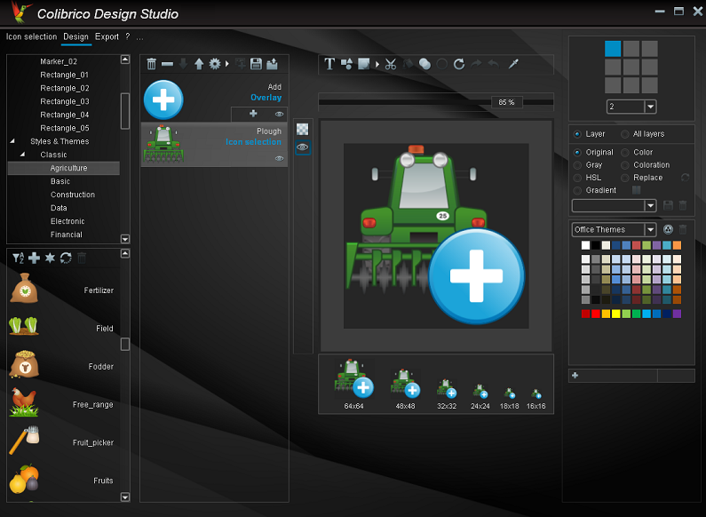 Colibrico Design Studio is a large graphics collection and design tool. With Colibrico you automate the creation of Icon Sets. The export formats SVG, PNG, BMP, JPG and ICO (RGB / A) are supported.