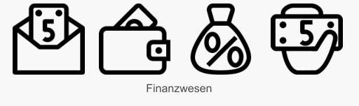 Icon Set Finanzwesen in Konturdarstellung