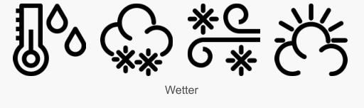 Icon Set Wetter in Konturdarstellung