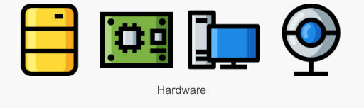 Icon Set Hardware in Konturdarstellung mit Füllung